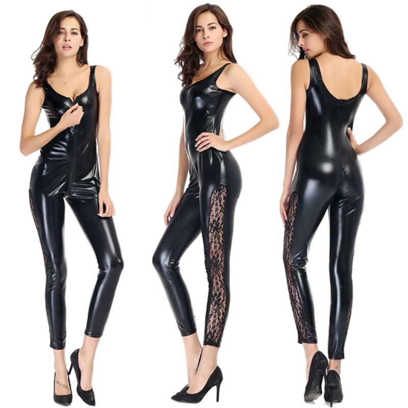 Erotic Sleeveless Lace Side Bodysuit Wet Look Faux Leather Catsuit Women Black Latex Jumpsuit Open Crotch Zipper Exotic Clubwear