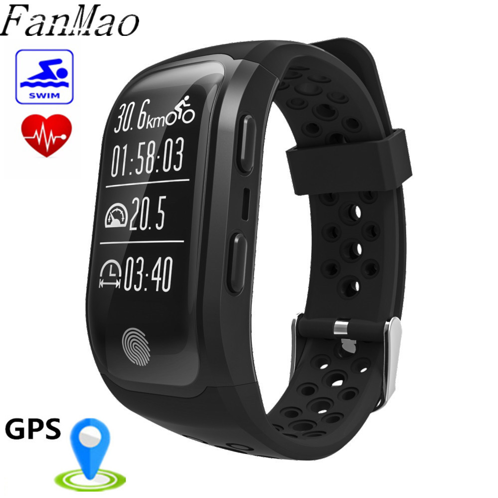 FanMao S908 Heart Rate Smart Band GPS Track Record Smart Bracelet IP68 Waterproof Swin Wristband