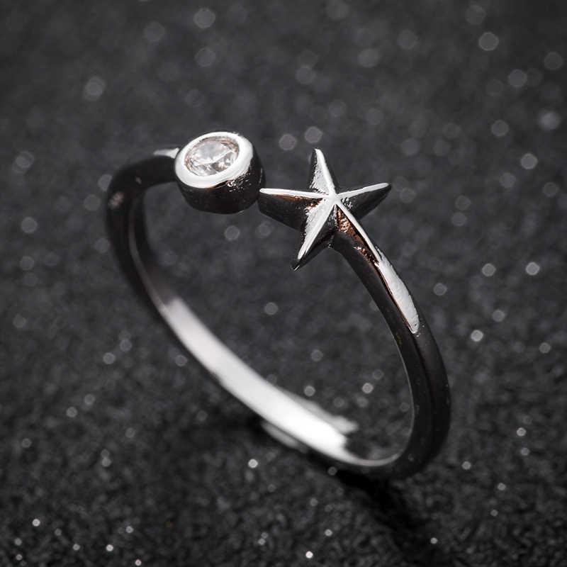 Hfarich Ретро серебра 925 пятиконечная звезда кольцо мерцание CZ Кристалл Камень Циркон звездами ювелирные изделия для Для женщин хороший подарок падение доставка