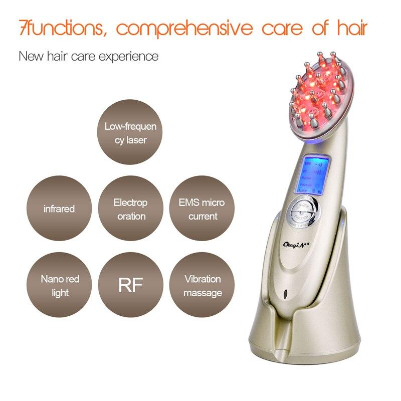 Cepillo eléctrico para el crecimiento del cabello con láser, tratamiento contra la pérdida de cabello, luz infrarroja Nano, luz roja EMS, cepillo para el cabello con vibración Care46 - 4