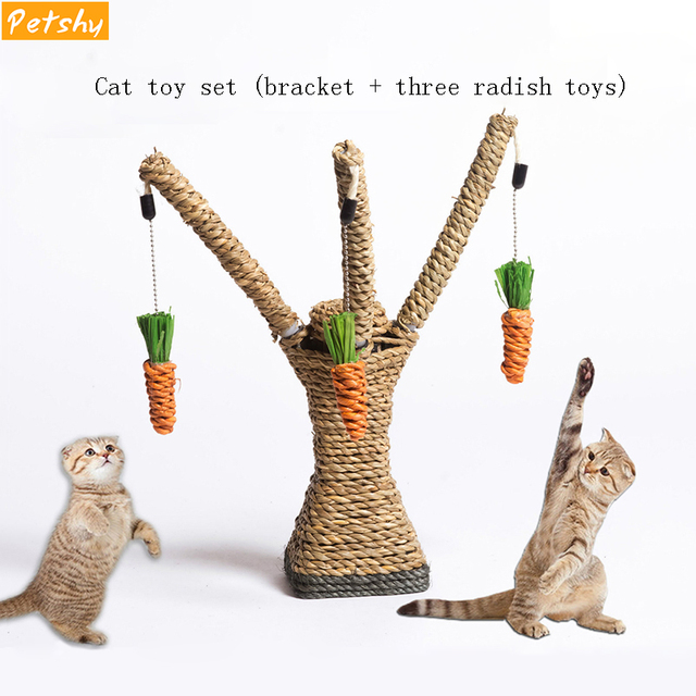 Petshy Cat Toys Interactive Tree Tower Shelves Climbing Frame Scratching Post Sisal Rope Cat Playing Toy Protecting Furniture