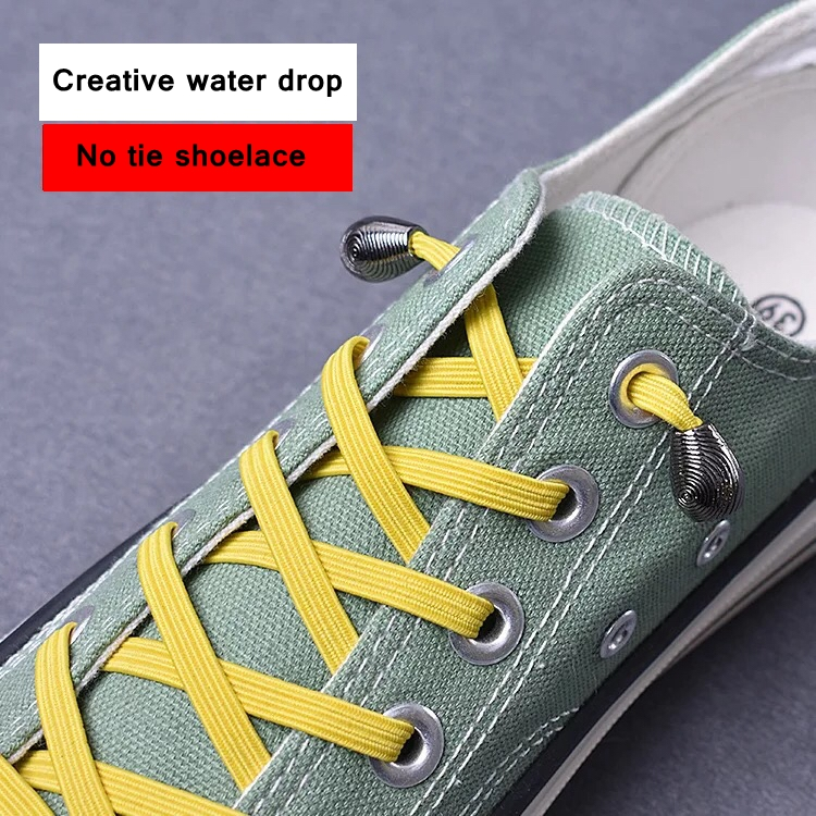 1Pair No Tie Elastic Shoelaces With Metal Head For Sneaker Kid Adult Quick Convenient Wild Lazy Flat Shoe Laces 21colors