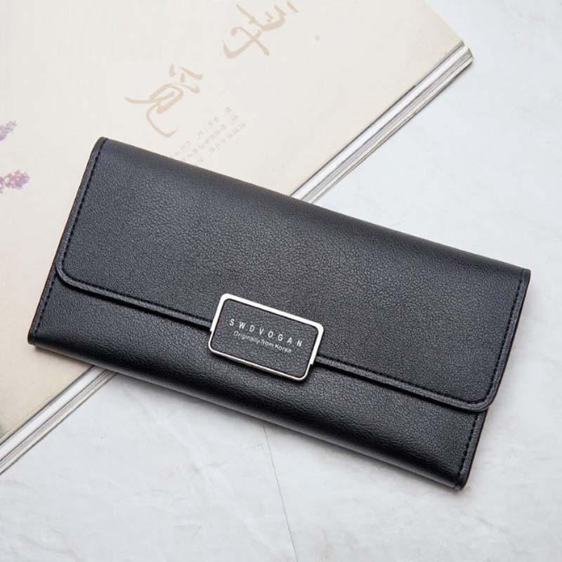 2018 New Ladies Purse Card buckle leather wallet multi Korean minimalist fashion color envelope hand bag