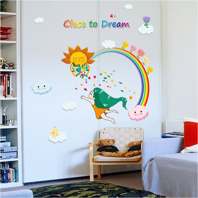 [Fundecor] Diy Home Decor Close To Dream Of The Rainbow Girl Wall Stickers  Art