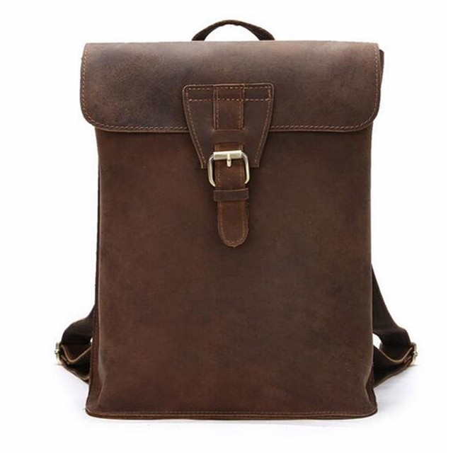 c63496880d21 US $127.14 |Genuine Leather Backpack For Men Women Unisex Vintage Casual  Women's Backpack Solid Coffee School Bag Travel Bag Men Women-in Backpacks  ...