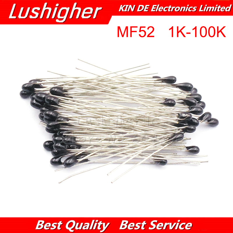 20pcs MF52 MF52AT B 3950 NTC Thermistor Thermal Resistor 5% 1K 2K 3K 4.7K 5K 10K 20K 47K 50K 100K