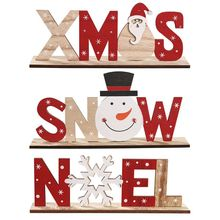 Wooden Freestanding Letters Sign Santa Claus Snowman Snowflakes Christmas Party Home Decorations Desk Xmas Gift