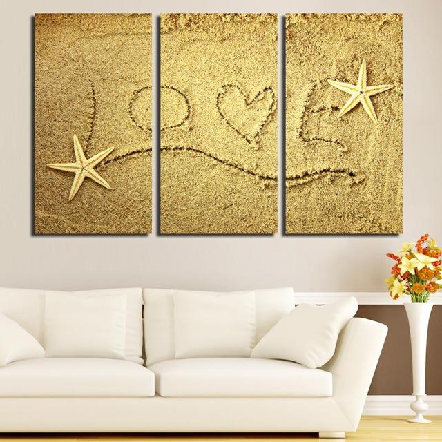 3PCS Unframed Love Sandy Starfish Wall Painting Art Modern Canvas ...