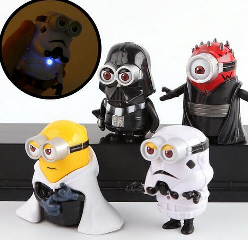 4pcs set 8cm cute Minion Cos star wars Maul Darth Vader Stormtrooper Luke Skywalker PVC With