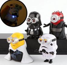 4pcs/set 8cm cute Minion Cos star wars Maul Darth Vader Stormtrooper Luke Skywalker PVC With Light  Action Figures Toys