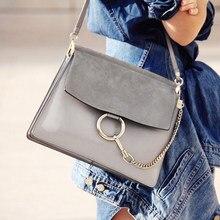 Frauen marke mode hochwertigen pu-leder big kreis ketten handtasche crossbody messenger schwarz blau grau braun tasche