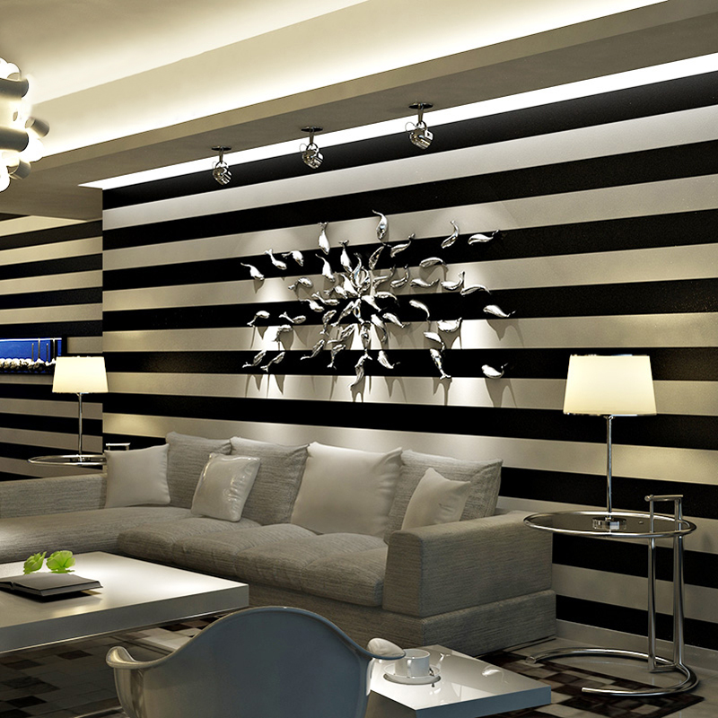 Modern Simple Stripe Wallpaper 3D Black And White Vertical Stripes Wall Paper For Living Room TV Sofa Background Wall Coverings