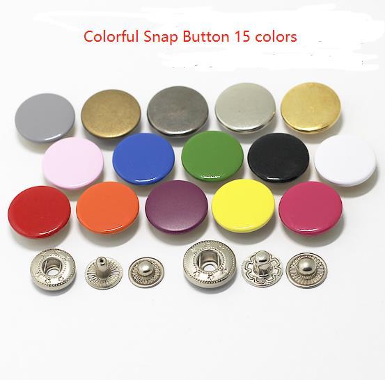 100 sets 12/15/17/20mm 다채로운 황동 금속 스냅 보도 단추 패스너 4 조각 diy 고정 보도 스 터 드 의류 바느질 도구-에서단추부터 홈 & 가든 의  그룹 1