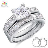 Drop Shipping Free 1 Carat Princess Cut Simulated Diamond 925 Sterling Silver 2 Pc Wedding Engagement