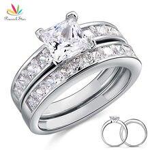 Pavo real Estrella Sólida Plata de ley 925 Pc Wedding Engagement Ring Set 1 Ct de Princesa Cut Creado Joyas de Diamantes CFR8020