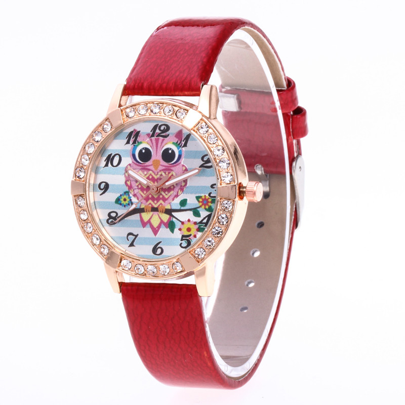 FUNIQUE 2018 PU Leather Quartz Watch Owl Pattern Rhinestone Ornaments Round Dial Luxury Wrist Watches For Dropshipping