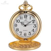 KS Retro Classic Golden Steel Case White Dial Analog Quartz Steampunk Male Necklace Clock Pendant Chain