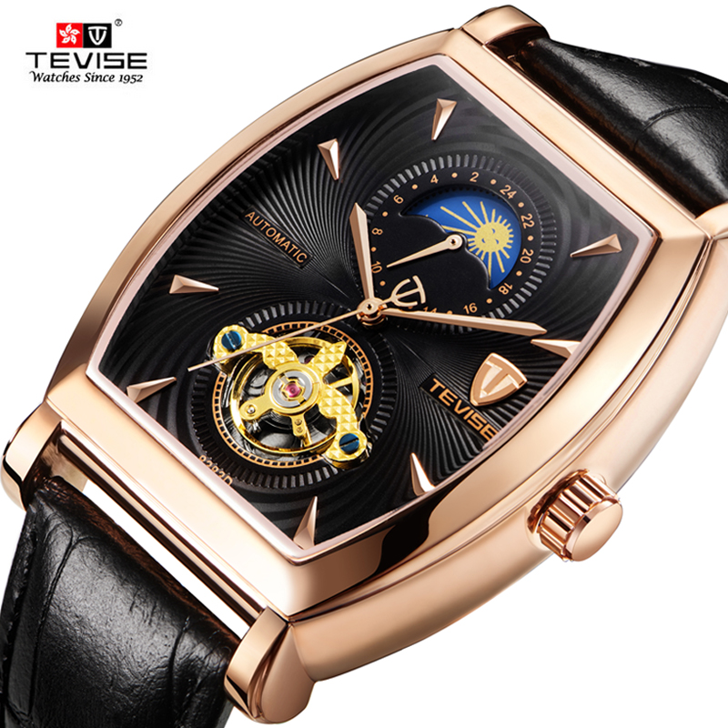 TEVISE Brand Men Mechanical Watch Top Fashion luxury Moon phase Automatic Mechanical Genuine Leather Watches Relogio masculino tevise fashion moon phase automatic self wind watches stainless steel luxury gold black watch men mechanical t629b with tool