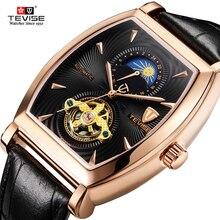 TEVISE reloj mecánico para hombre, cronógrafo mecánico de lujo, fase lunar, automático, de cuero genuino, masculino