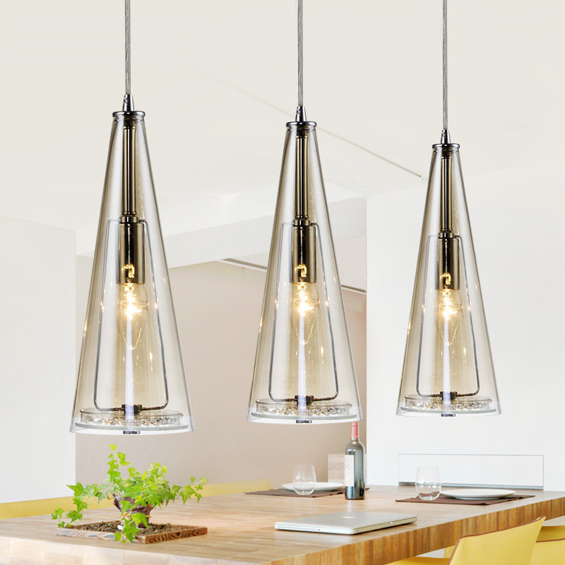 E14 Led 3lights Glass Crystal Hanging Lamps Long Cone