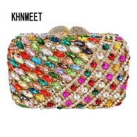 Factory Sale Luxury Crystal Diamond Clutches Multicolor Women Evening Bag Fuschia Rhinestone Wedding Banquet Clutch Bag