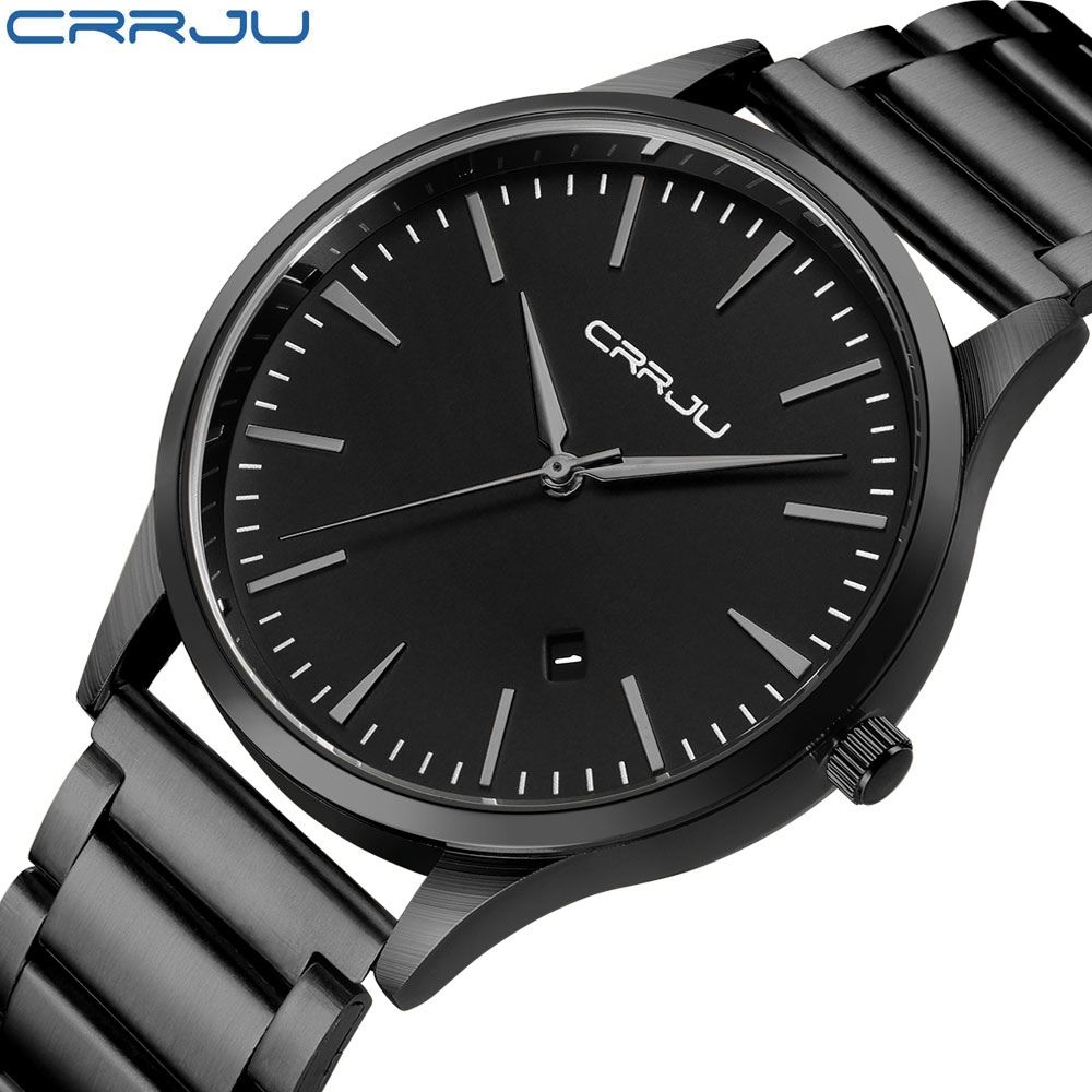 CRRJU Top Brand Fashion Men Sport Analog Watches Men's Quartz Clock Male Casual Full Stainless Steel Military Wrist Watch aokulasic gold quartz watches men fashion casual top brand luxury wrist watches clock male military army sport steel men watch