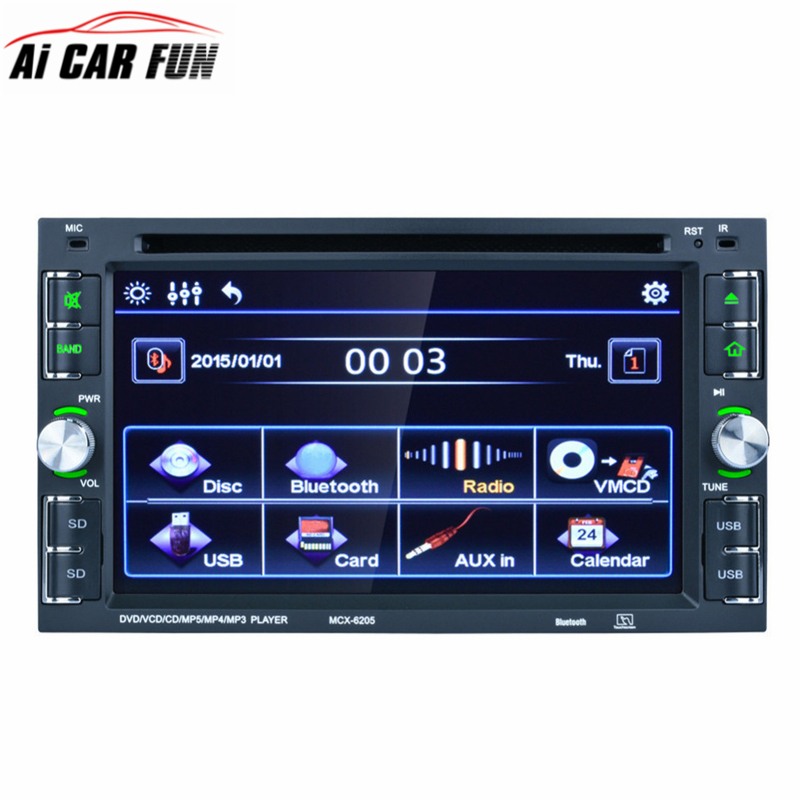 6205 2 Din 6.2 Inch Car Stereo DVD CD MP3 Player In Dash Bluetooth Front and Rear View Camera Input Double Din Touch Screen 180 16 9 fast fold front and rear projection screen back
