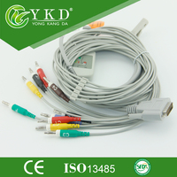Nihon Kohden 10 lead EKG cable, compatible with Cardiofac 6353 ekg accessories,IEC,Banana 4.0