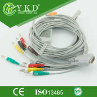 Nihon Kohden 10 realizacji EKG kabel, kompatybilny z Cardiofac 6353 ekg akcesoria, IEC, Banana 4.0