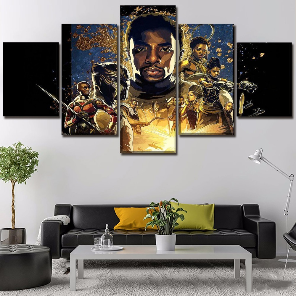 Canvas Printed Movie Poster Black Panther 5 Pieces Wall Art Canvas Painting Home Decorative Modern Living Room Artwork Cuadros in Painting Calligraphy from Home Garden