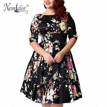 Women Vintage Half Sleeve Plus Size 8XL 9XL Print A-line Dress Sexy V-low Back Party Midi Elegant Swing Dress 1