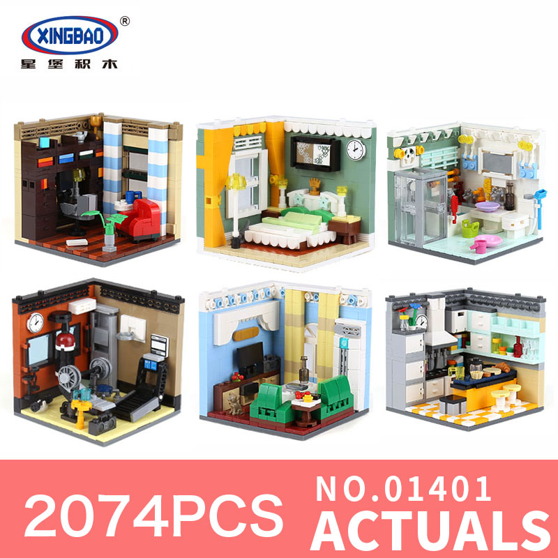 XINGBAO 01401 2074Pcs Genuine The Residential House Six in one Sets Self-Assembling Series Building Blocks Bricks Toys for child black pearl building blocks kaizi ky87010 pirates of the caribbean ship self locking bricks assembling toys 1184pcs set gift