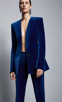 Velvet Blue Business Pant Suits for Women Ladies Single Breasted Blazer with Pants Women's Work Pantsuit Custom Made