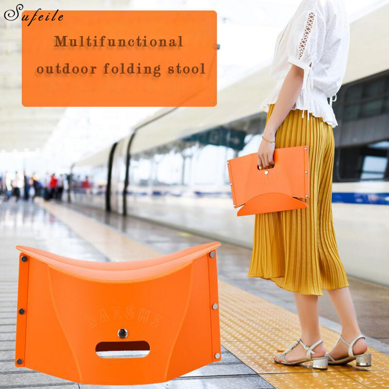 SUFEILE Plastic folding portable stool Outdoor folding fishing chair Outdoor portable Mazar fishing gear 17Q5D30 bamboo bamboo portable folding stool have small bench wooden fishing outdoor folding stool campstool train