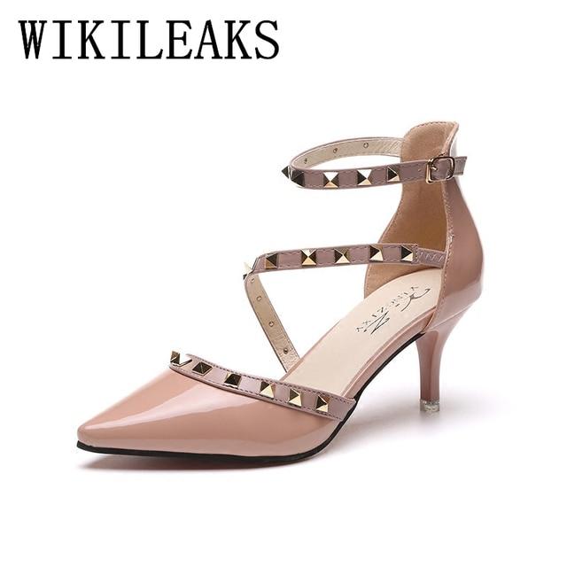 Patente Couro sapatos de salto alto mulher rebites sapatos de casamento sapato feminino zapatos mujer tacon sexy bombas mulheres sapatos italianos