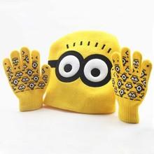 New Arrival Autumn Winter Children Glove Hat Sets Cartoon Minions Pattern Cute Boy Girl Warm Knitted Caps Gloves Baby Beanies