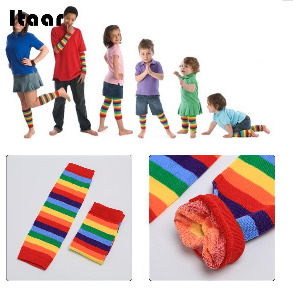 Baby Knee Pad Kids Socks Leg Warmers Kneepad Protector Rainbow Striped Newborn Girls Leggings Tights Boys Kawaii Toddlers