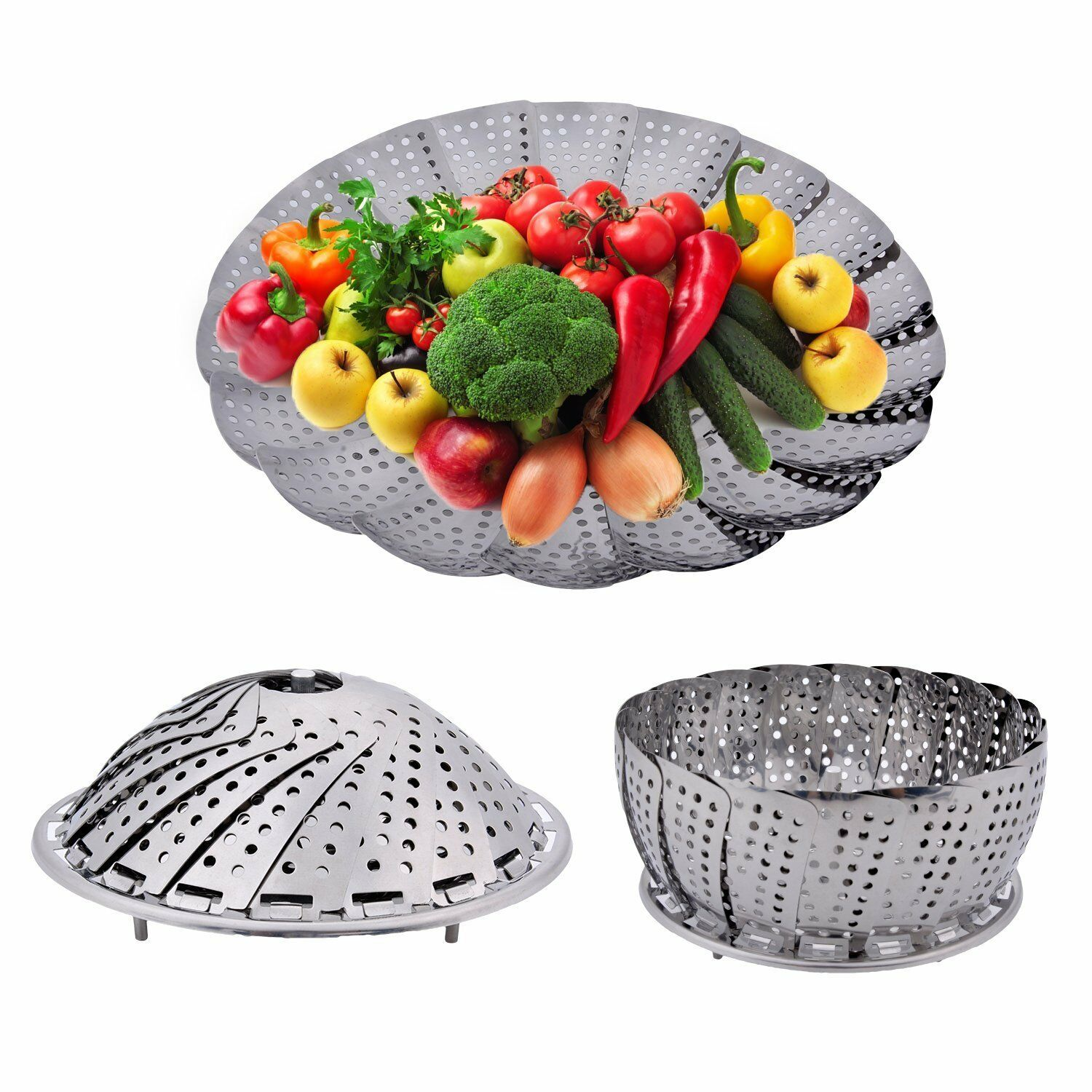 Multifunctional Stainless Mesh Collapsible Folding Food Dish Vegetable Steamer Basket Cooker