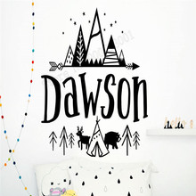 Wall Decoration Custom Name Poster Personalized Sticker Mountain Decal Kidsroom Nursery Mural Decor Beauty LY369