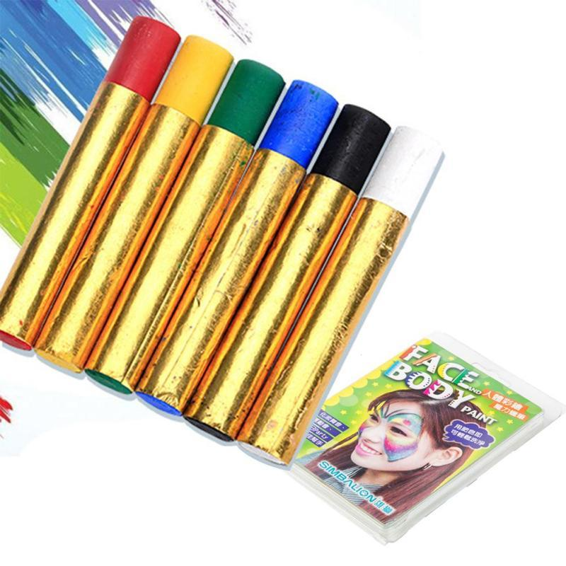 6 Colors/set Body Paint Tattoo Drawing Pigment Face Paint Grease DIY Design Crayon Color Fancy Art Party Makeup L3