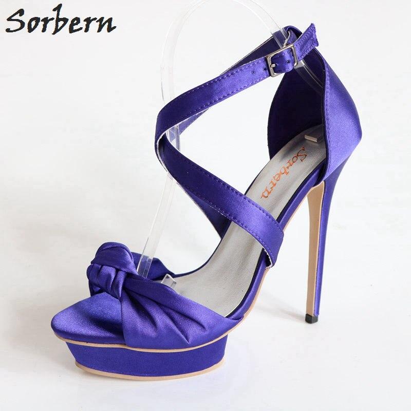 Фиолетовые Сатиновые сандалии на высоком каблуке с бантом; Летние Стильные сандалии с открытым носком на платформе для выпускного бала; сва