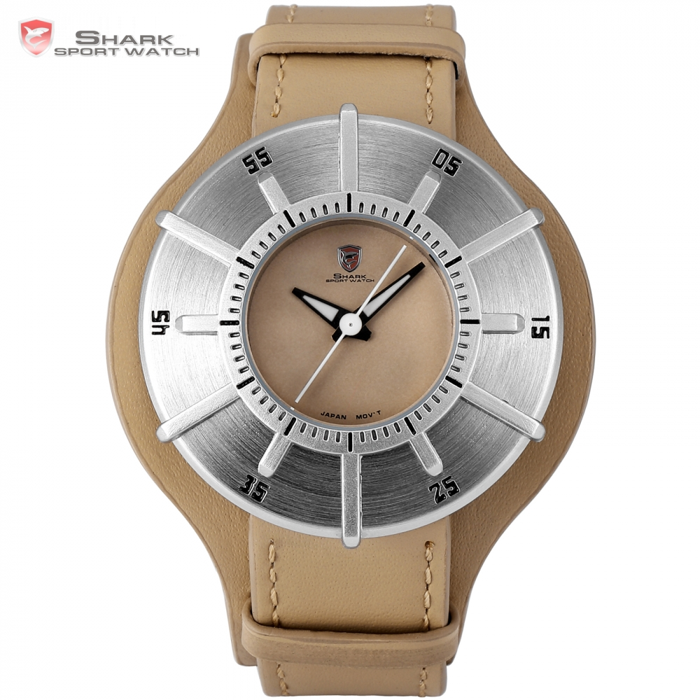 Silky Shark Sport Watch Luxury Brand Men Silver Sundial Designer Quartz Clock Army Brown Leather Wristwatches Uhren Herren/SH481 greenland shark sport watch brand