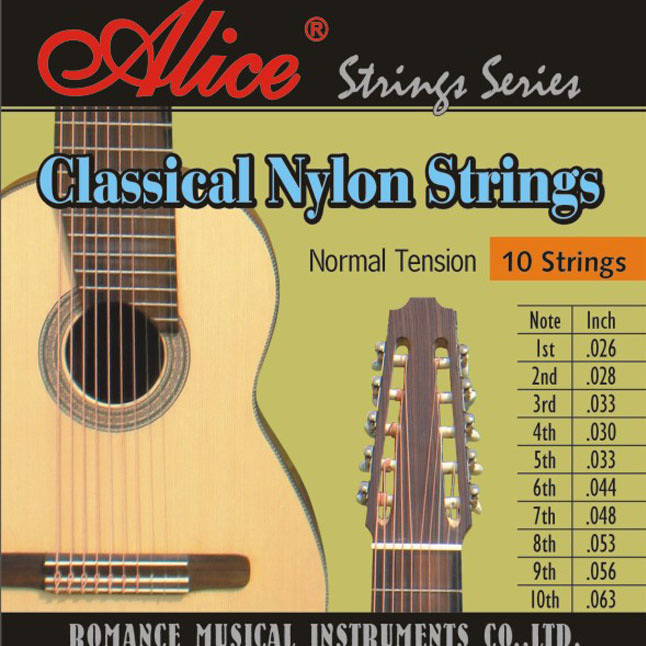 Classical Guitar Strings ALICE 10 Strings Series 026-063 Silver-Plated Copper Alloy Wound Normal Tension Nylon Music Wire savarez 500arh classical corum standard tension set 024 042 classical guitar string