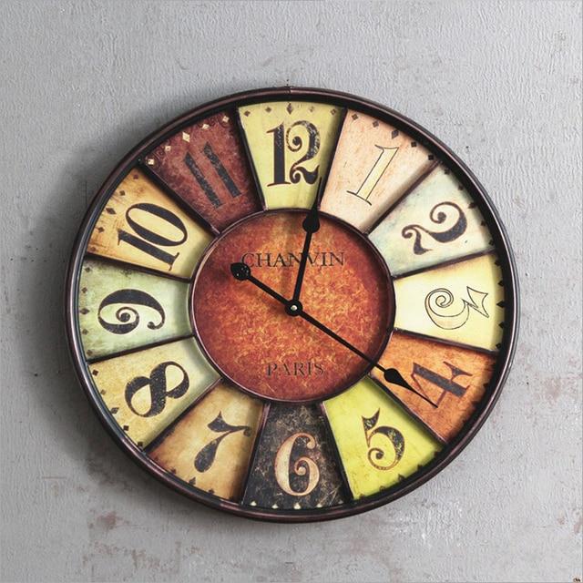 Estilo Americano De Hierro Forjado Reloj De Pared Grande Relojes