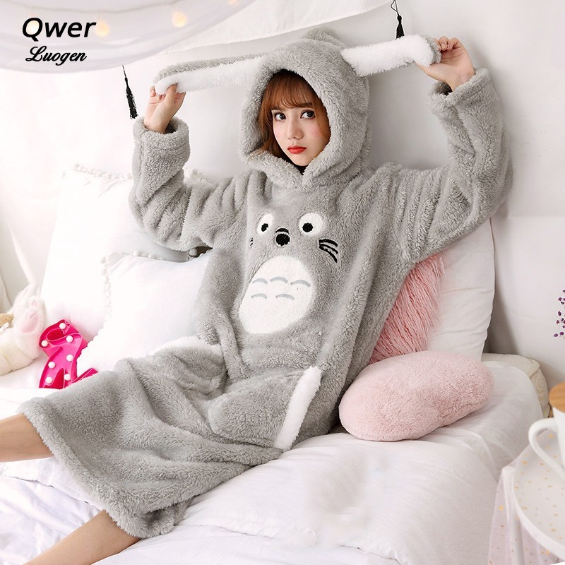 Autumn and Winter Adult Women for Anime Totoro Pajamas Flannel Fleece Girls Cute Home Sleepwear Onesie Cosplay Costume Unisex