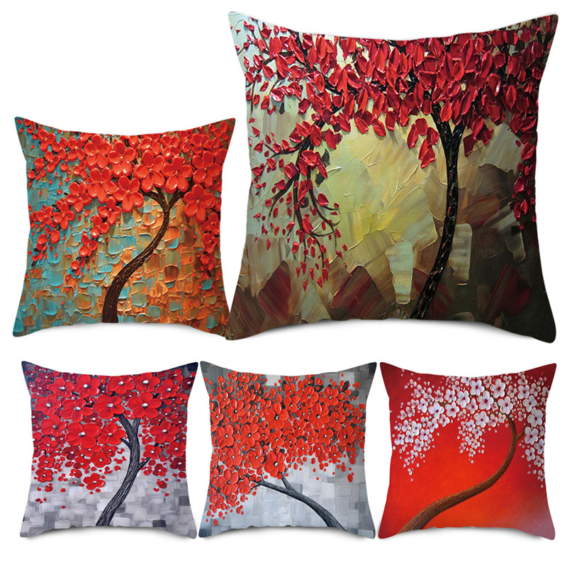 Vintage Flower Pillow Case Cushion Cover Mural Fall Tree Cherry Sofa Decorative