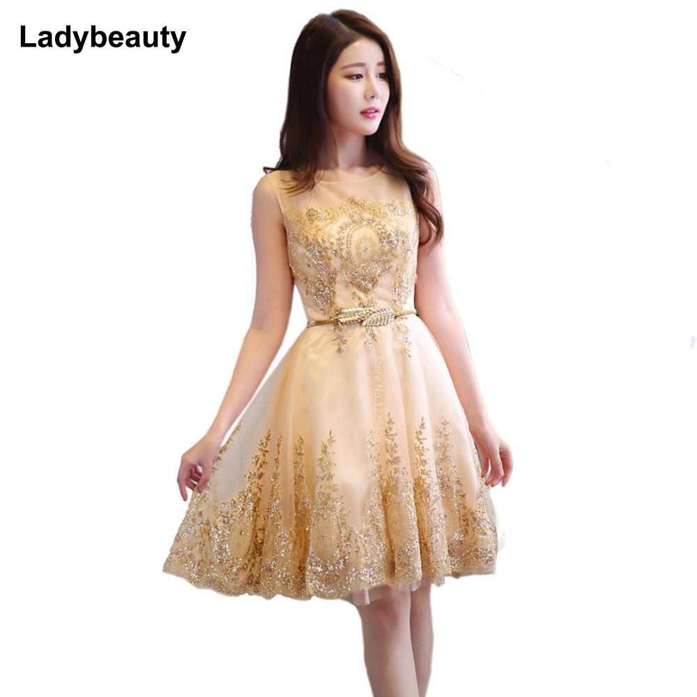 New Tulle Lace Gold Cocktail Dress 2017 Short Mother Of
