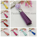 20 strands Mixed color Suede Tassels Pendants Pendant Decorations with Resin Rhinestone Beads and Alloy Lobster Claw Clasps 90mm