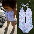 2-6Y Baby Girls Swimwear Flower Design One-piece Swimsuit Child Bikini Children Bathing Suit Little Kids Swim Wear bebe meninas