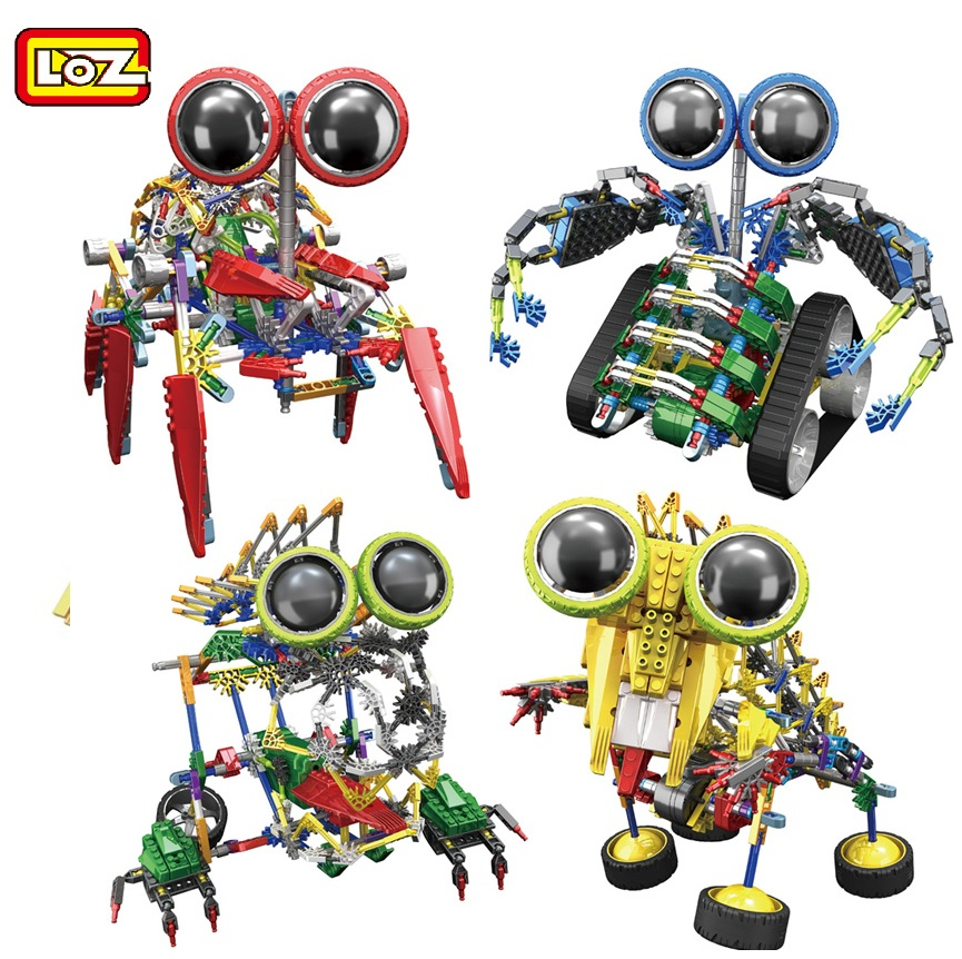 LOZ Robot series Electronic Building Blocks DIY Toy Assembly Educational Spider Model Toys For Children Kids Gifts 3025-3028 kids educational toys 102pcs set sweeper model assembly building blocks kit enlighten puzzle toy children birthday gifts